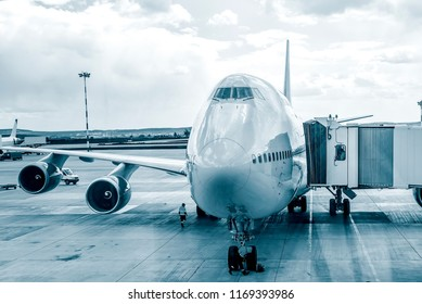Passenger plane in airport . Aircraft maintenance.