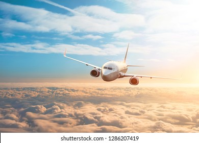 Passenger plane, business trip, travel concept. Flying evening sunset