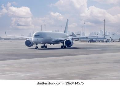 Passenger plane on airport parking. Copy space.