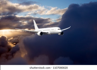 Passenger plane in the sky. Aircraft flying high above the storm clouds.
