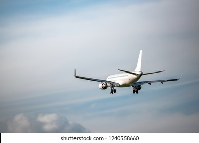 The passenger plane which flies in the sky