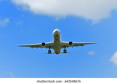 The passenger plane which is landing