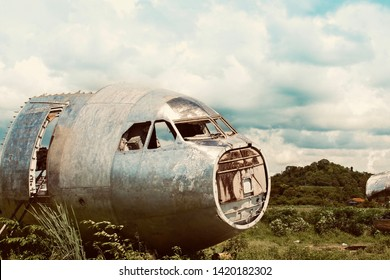 Passenger plane wreck in jungle, Abandoned airplane,
