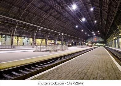 Passenger platform at the night on the railway station in Lvov, Ukraine