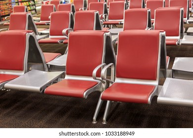 Passenger seat in airport, Waiting hall, view from airport terminal. Transport and travel concept.