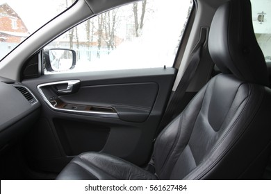 The passenger seat in the car, chair with headrest