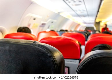 Passenger seat on the airplane.Travel planning vacation on holiday or summer concept.