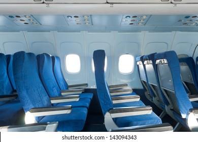 Passenger seats interior of salon of the TU 154 plane