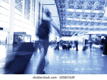 passenger in the shanghai pudong airport,interior of the airport.