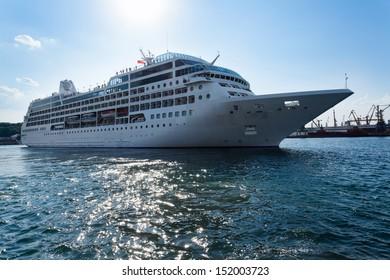 passenger ship afloat sparkling sea
