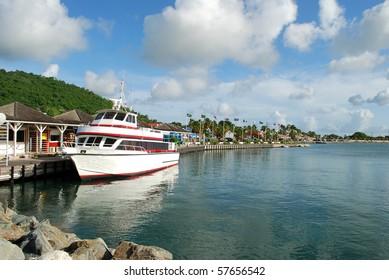 Passenger ship at Marigot harbor, Saint- Martin Island