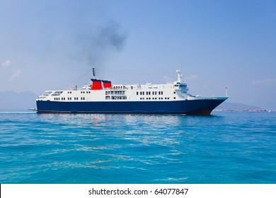 Passenger ship at sea - transportation background
