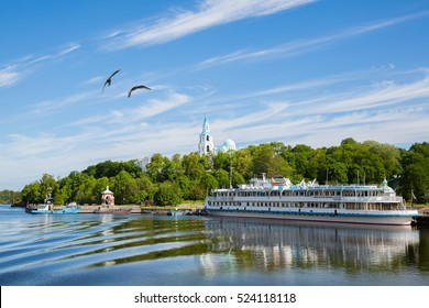 Passenger tourist ship standing at the pier on the island of Valaam. Karelia, Russia.
