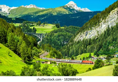 Passenger train at the Brenner Railway in the Austrian Alps
