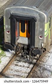 Passenger train door close-up