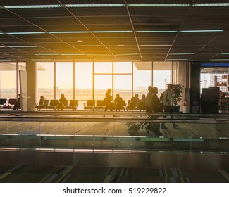 The passenger was traveling on a plane at the airport , silhouette picture
