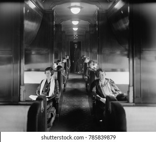 Passengers and an African American Porter in Pullman Car on the Southern Railway in the 1920s. Pullman sleeping car fares cost more than tickets in a 'coach' or 'chair car'. The Porter attended the 'f