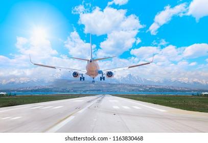 Passengers airplane landing to airport