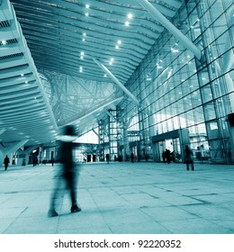 Passengers in the airport interior