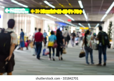 Passengers in Airport on blur background