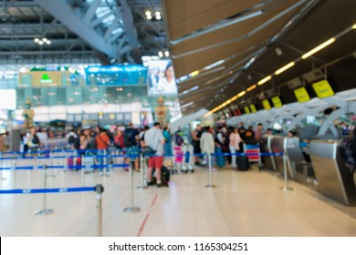 Passengers arrive check-in counters at Suvarnabhumi Airport Thailand  is one of the busiest in Asia blured for background