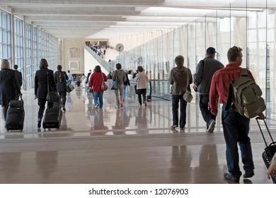 Passengers at the modern international airport