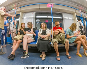 Passengers are sitting in a Moscow metro car Moscow 07/2019