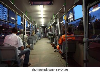 Passengers in a tram