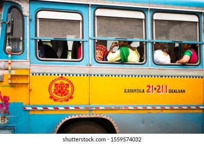 Passengers in a typical bus from Calcutta. Calcutta India. November 2019