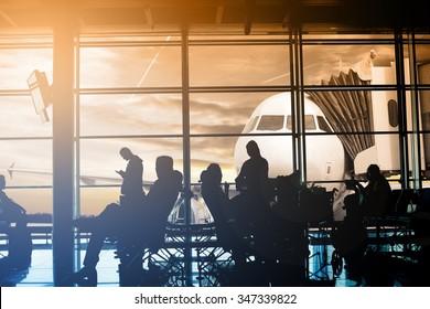 Passengers waiting at gate terminal  in Airport