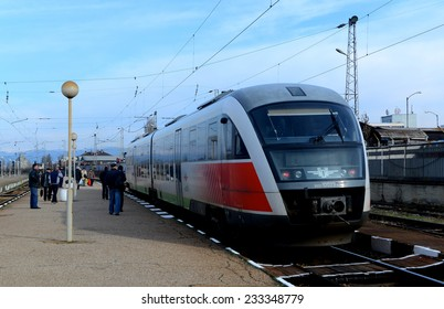 Passengers waiting train on railway station in Sofia Bulgaria, Nov 25, 2014