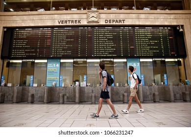 Passengers walk in the central train station in Brussels, Belgium on Jun. 20, 2017