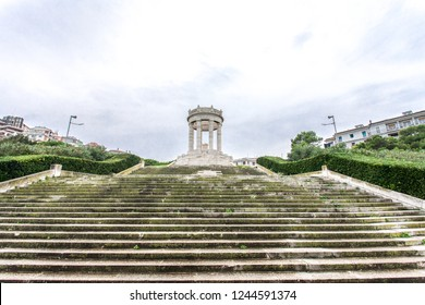 The Passetto of Ancona Marche Italy with panoramic view of the Adriatic Sea - Monument to fallen soldiers of WWII, a Pantheon at Passetto of Ancona.