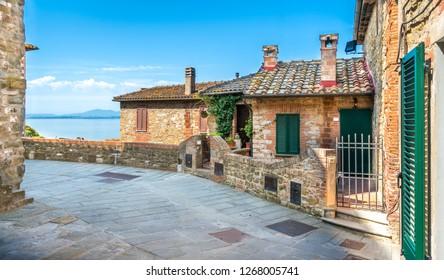 Passignano sul Trasimeno, idyllic village  overlooking the Trasimeno Lake. Umbria, Italy.