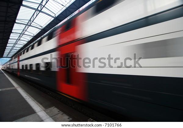 Passing Commuter Double Deck Train