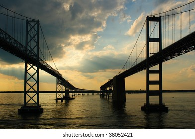Passing Under Maryland's Chesapeake Bay Bridges as sunset approaches