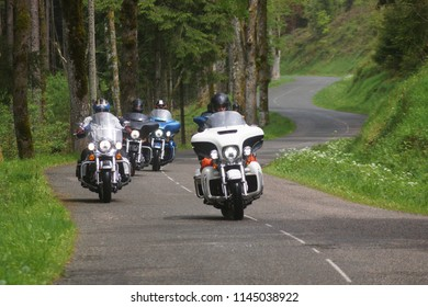 Passing the Vogezen in France by Harley Davidson motorbike, Vogezen, Metzeral/France - May 8 - 2014