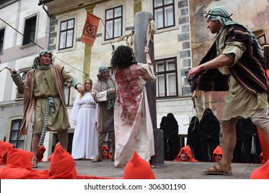 Passion of the Christ, SKOFJA LOKA, SLOVENIA, Europe, 21. april 2015. Penitential Passion procession, written in 1715 by Father Romuald. Since 1999 It takes place every 6 years around Easter holidays.