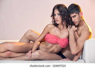 Passion couple on couch