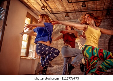 Passion dance team - Group of female dancer exercising dance training in studio
