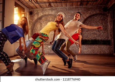 Passion dance team - Group of urban hip hop dancer exercising dance training in studio
