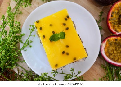 Passion Fruit Cake with fresh Passion fruit, Homemade