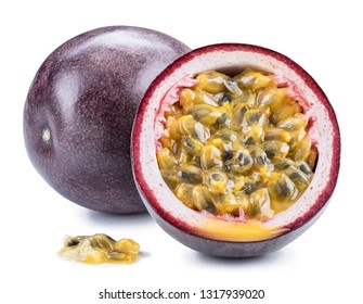 Passion fruit and its cross section with pulpy juice filled with seeds. Clipping path.