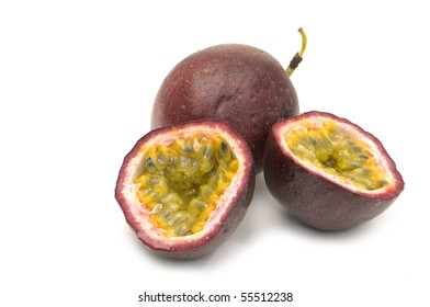 passion fruit , cut open on white background
