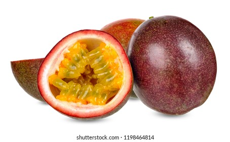 Passion fruit isolated on white clipping path.