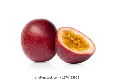 Passion fruit isolated on white background.
