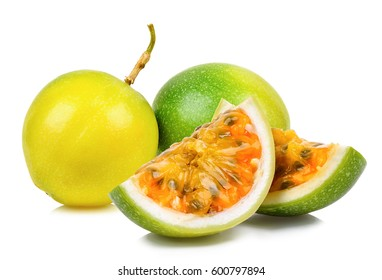 Passion fruit isolated on the white background.