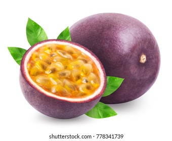 Passion fruit isolated. Whole passionfruit and a half of maracuya isolated on white background. Clipping path included.