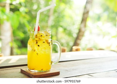 passion fruit juice in glass.