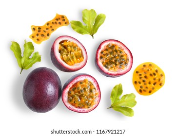 passion fruit with leaf on white background. top view